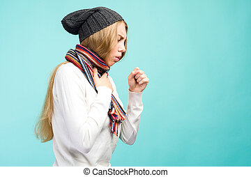 Cold And Flu. Portrait Of Beautiful Teen Girl With Cough And Sore Throat Feeling Sick Indoors. Closeup Of Ill Unhealthy Woman Coughing