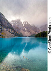 Cold and Foggy Moraine Lake at Banff National Park
