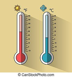 Cold and hot thermometer temperature