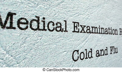 Cold anf flu medical report