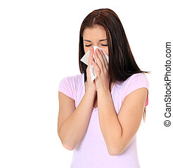 Attractive teenage girl got a cold. All on white background.