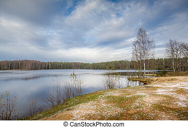Cold autumn at forest lake