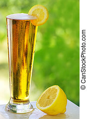 cold beer and lemon.