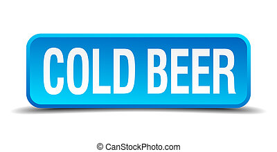 cold beer blue 3d realistic square isolated button