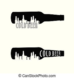 cold beer bottle set illustration