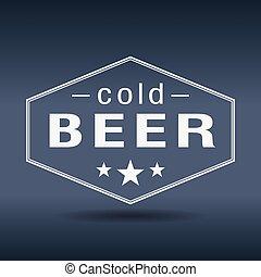 cold beer hexagonal white vintage retro style label