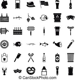 Cold beer icons set, simple style