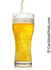 Cold beer pouring into glass