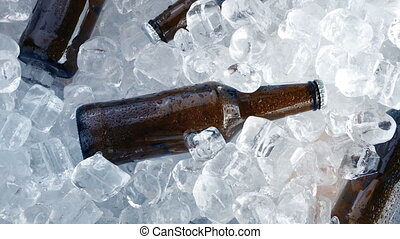 Cold Beers Packed In Ice - Bottles of beer packed in ice...