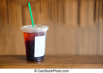 Cold black coffee with ice
