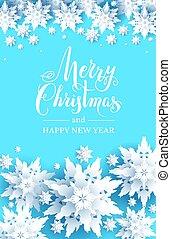 Snow christmas decoration on blue background