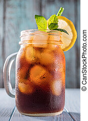 Cold brew coffee in mason jar