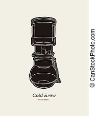 cold brew. coffee maker hand draw vector.