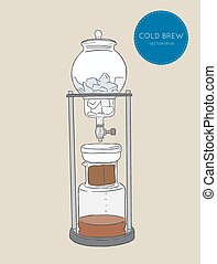 Cold Brew Coffee Makers for coffee shop , brewing coffee machine sketch vector.
