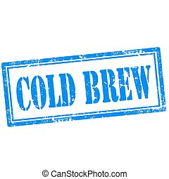 Grunge rubber stamp with text Cold Brew, vector illustration