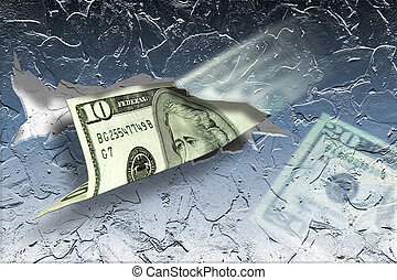Cold Cash - Money sticking out of ice