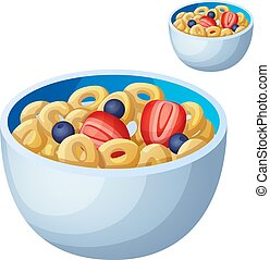Cold cereal isolated on white background. Detailed Vector Icon