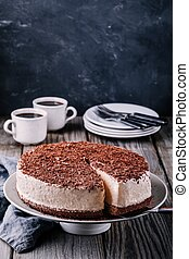 Cold chocolate cheesecake on a plate