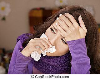 cold., chusteczka do nosa, kobieta, posiadanie, młody