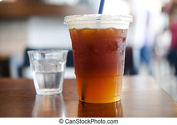 Cold coffee mix with orange juice and soda