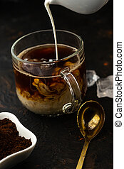 cold coffee with cream and ice