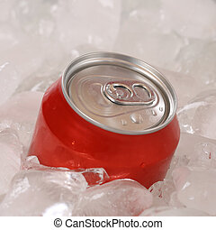 Cold cola drink in a can on ice cubes