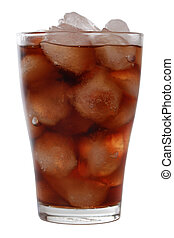 Cold cola in a glass with ice