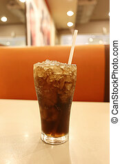 Cold cola in glass.