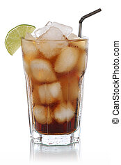 Cold cola in glass isolated