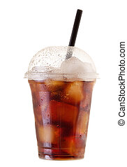 cold cola with ice in takeaway cup on white background