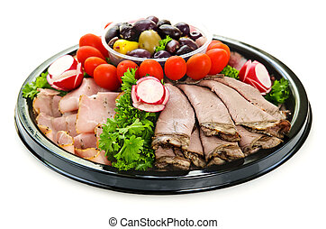 Cold cut platter - Isolated platter of assorted cold cut ...