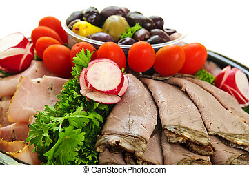 Cold cut platter - Platter of assorted cold cut meat slices