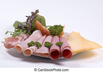 cold cuts on a plate