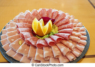 Cold Cuts on Tray - Assorted cold cuts arranged on a tray...