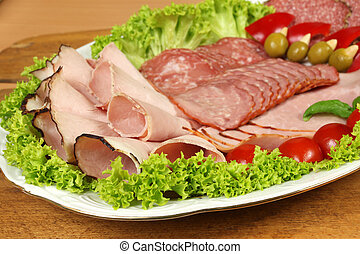 Cold cuts - Party banquet plate with cold cuts of polish ham...