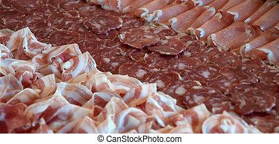 Cold Cuts Plate of Salami, Pancetta e Coppa (typical italian food)