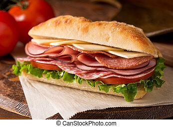 Cold Cuts Sandwich - A delicious sandwich with cold cuts,...