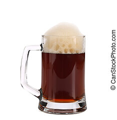 Cold dark beer in glass.