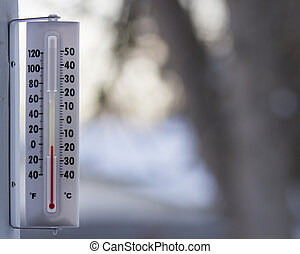 Cold day outside - Thermometer showing temps below 0