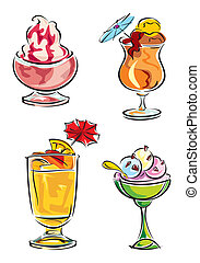 cold desserts - set vector images of cold drinks and ice ...