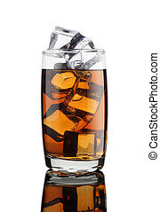 Cold Drink in a Glass with Ice Cubes