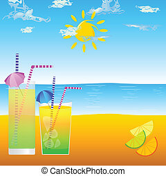cold drink on the beach vector