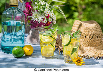 Cold drink served in a summer garden