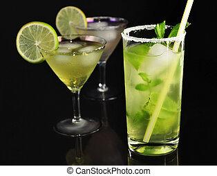 cold drinks - cold cocktails on black background