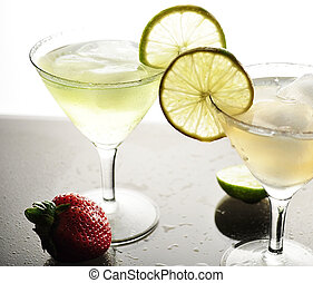 cold drinks - cold cocktails with lemon and ice