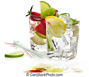 Cold Drinks - Cold Fruit Drinks On White Background