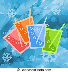 Cold drinks - Colorful cold drinks in ice background