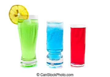 Cold drinks - Colorful cold drinks isolated on a white ...