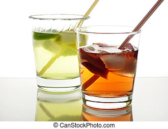 cold drinks - colorful fruit cocktails with ice cubes