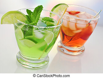 cold drinks - glasses of cold fruit cocktails